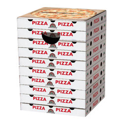DOIY - Incredible Cardboard Stools, Pizza Boxes - Take your shoes off and have a seat, on this pile of pizza boxes? Incredible Cardboard Stools are gravity-defying pieces of furniture that like some of the things you have lying around your house! These amazing stools are easy to assemble and can fold flat for storage when you need save space. They come in three fun styles: Pizza Boxes, Bookworm, and Graffiti to fit your home d̩cor. They may be made of cardboard, but these cleverly designed stools can support up to 440 lbs.! Cardboard Stools also made great end tables and ottomans!
