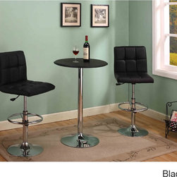 K and B Furniture Co Inc - Square Leatherette Height-adjustable Bar Stools (Set of 2) - Incorporate chic,modern design into your home bar or kitchen area with these fashion-forward stools,featuring a bright chrome-plated metal base. Available in black or white,these height adjustable bar stools are upholstered with plush leatherette.