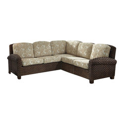 Home Styles - Home Styles Cabana Banana II Sectional in Cinnamon Finish - Home Styles - Sofas - 540462 - Bring back the island essence with the Cabana Banana II �L� Sofa from Home Styles. This eco-friendly piece features frames that are made of 100 percent sustainable natural materials. Construction is from hand braided, four over two woven pattern, banana leaves; mahogany solids, and plywood in a honey finish
