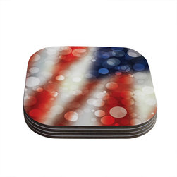 "Kess InHouse - KESS Original ""Patriot"" America Bokeh Coasters (Set of 4) - Now you can drink in style with this KESS InHouse coaster set. This set of 4 coasters are made from a durable compressed wood material to endure daily use with a printed gloss seal that protects the artwork so you don't have to worry about your drink sweating and ruining the art. Give your guests something to ooo and ahhh over every time they pick up their drink. Perfect for gifts, weddings, showers, birthdays and just around the house, these KESS InHouse coasters will be the talk of any and all cocktail parties you throw."
