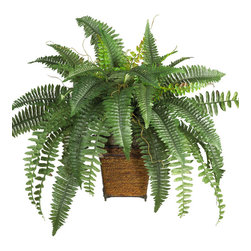 Nearly Natural - Boston Fern with Wood Wicker Basket Silk Plant - Are you tired of the ordinary? Then spice up your decor with this wild and tropical Boston fern. A popular favorite of the Victorian era, this exotically crafted masterpiece brings back a forgotten age. Standing nearly two-feet high, the lush green leaves bursting forth create a unique appearance that's second to none. A decorative wood wicker basket adds a nice finishing touch.