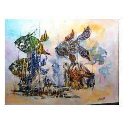 """Coral Colors, Original, Painting - """"One of a kind, original, watercolor.  Bold and free, this painting floats through the reef with colorful images of the lacy finned creatures that hide among its hills and valleys.  """""""