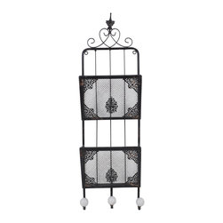 Enchante Accessories Inc - Distressed Wall Mounted Metal  File Holder with Hooks (Shabby Black) - Wall mounted metal file holder with hooks