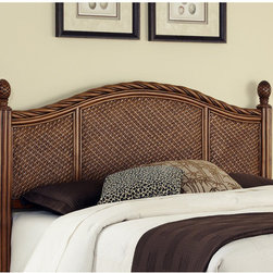 """Home Styles - Marco Island Headboard and Nightstand - Marco Island king Headboard and nightstand by Home Styles is island inspired displaying a rich blend of materials including natural rattan woven wicker. Perfect as a nightstand or accent table, this nightstand's design encompasses intricate natural woven rattan panels. Features: -Intricate woven rattan panels found throughout the products.-Twisted rattan edged top.-Solid mahogany post with leather wrapped strapping and carved pineapple finials.-Include large storage drawers.-Easy-glide side mounted metal guides.-Matching sculpted Palm Mahogany hardware.-Marco Island collection.-Gloss Finish: No.-Number of Products in Set: 2.-Finish: Cinnamon.-Upholstered: No.-Powder Coated Finish: No.-Hardware Material: Metal.-Scratch Resistant: No.-Adjustable Height: No.-Nailhead Trim: No.-Wood Molding: Twisted Rattan.-Lighting Included: No.-Wall Mounted: No.-Reversible: No.-Media Outlet Hole: No.-Built In Outlets: No.-Adjustable Shelves: No.-Finished Back: Yes.-Distressed: No.-Hidden Storage: No.-Freestanding: No.-Frame Required: Yes.-Frame Included: No.-Drill Holes for Frame: Yes.-Frame Compatibility (Size: Queen / Full): Accommodates most Queen/Full bed frames.-Frame Compatibility (Size: King / California King): Accommodates most King/California King bed frames.-Swatch Available: No.-Eco-Friendly: No.-Product Care: Wipe with a dry cloth.-Commercial Use: No.-Recycled Content: No .Specifications: -FSC Certified: Yes.-CARB Compliant: Yes.-JPMA Certified: No.-ISTA 3A Certified: Yes.Dimensions: -Overall Height - Top to Bottom (Size: Queen / Full, King / California King): 53"""".-Overall Width - Side to Side (Size: Queen / Full): 65.25"""".-Overall Width - Side to Side (Size: King / California King): 81"""".-Overall Depth - Front to Back (Size: Queen / Full, King / California King): 3.5"""".-Overall Product Weight (Size: Queen / Full): 88 lbs.-Overall Product Weight (Size: King / California King): 101 lbs.Assembly: -Assembly Required: Yes.-Too"""
