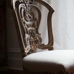 Ebanista - Dauphine Chair - Hand-carved side chair with intricately carved pierced back. Weathered pale blue finish with 22K antiqued gold detailing. Antiqued nailhead trim.