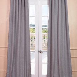 "Pepper Gray Heavy Faux Linen Curtain - Rich in texture these Linen Blend Solid Curtains are gracefully crafted. Woven from sturdy polyester for the perfect weave and fall. Each panel is finished with our Exclusive 3"" Pole Pocket with Back Tab (Hidden Tab) & Hook Belt header for a practical and modern look."