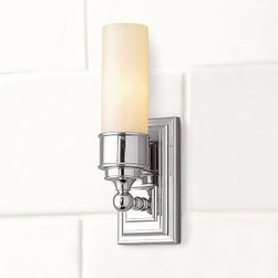 """Sussex Tube Sconce, Single, Chrome finish - Our Sussex Tube Sconce has a versatile design that suits baths of all styles. It has a thick frosted-glass shade. 4"""" wide x 4.5"""" deep x 13"""" high Crafted of forged and stamped brass. Thick frosted-glass shade. Hardwire; professional installation recommended. UL-listed. View our {{link path='pages/popups/fb-bath.html' class='popup' width='480' height='300'}}Furniture Brochure{{/link}}. Catalog / Internet Only."""