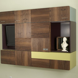 """TV Quilt - The TV Quilt is a series of cabinets, artfully composed to form a wall unit, which can be mounted vertically or horizontally. Closed, it emulates the refined delicacy of a handmade patchwork quilt, with hand laid French walnut veneer doors in various grain patterns. However, pulling a drawer, flipping a panel, or sliding a door reveals myriad storage opportunities, with colorfully painted interior elements that are also revealed on the sides. Available in two standard sizes that can fit a 32"""" or 42"""" TV with an optional built-in bar."""