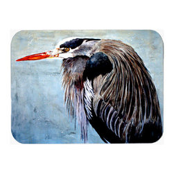 Caroline's Treasures - Blue Heron Kitchen Or Bath Mat 24X36 - Blue Heron Kitchen / Bath Mat 24x36 - 24 inches by 36 inches. Permanently dyed and fade resistant. Great for the Kitchen, Bath, outside the hot tub or just in the door from the swimming pool.    Use a garden hose or power washer to chase the dirt off of the mat.  Do not scrub with a brush.  Use the Vacuum on floor setting.  Made in the USA.  Clean stain with a cleaner that does not produce suds.