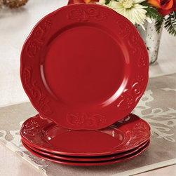 Paula Deen - Paula Deen Signature Dinnerware Red Spiceberry Salad Plates (Set of 4) - This gorgeous Paula Deen 4-piece salad plate set is made of durable stoneware, and features elegant scalloped edges and a unique, raised pattern. Great for casual meals or special occasions, these elegant red salad plates can be yours today.