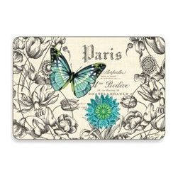 Jason Products Usa Inc. - Butterflies Multi-View Cork-Backed Placemats (Set of 4) - Add style, beauty, and a strong dose of practicality to your tablesetting with these lovely, care-free, cork-backed placemats. The Butterflies Placemats feature hand-painted butterflies by artist Jennifer Brinley and vintage French typography.