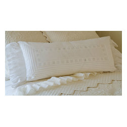 "Taylor Linens - Be Our Guest Bolster - ""Be Our Guest"" proclaims this beautiful bolster, and there's no better sentiment to brighten up a guest room. The inscription is embroidered in white thread and surrounded by decorative eyelets and tucks, with cascades of lacy ruffles at either end. Made of machine-washable cotton and filled with a dreamy blend of goose feathers and down."