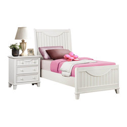 Homelegance - Homelegance Alyssa 3-Piece Kids' Panel Bedroom Set in White - Cottage styling lends itself to the Alyssa collection. finished in a simple cottage white or warm brown cherry bead board accents the end panels and top drawers of each case piece while coordinating knobs punctuate each drawer. Offerings include full queen and king beds. The Alyssa collection is a quaint addition to your home.