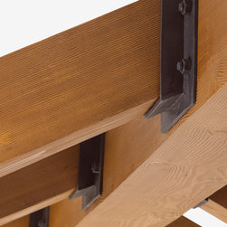 Faux Wood Beams - Faux wood beams provide the look of natural wood without the installation and maintenance challenges.  Flexible beam hangers, straps and plates are made of flexible urethane and perfectly duplicate forged iron.
