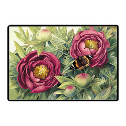 435-Peonies Doormat - 100% Polyester face, permanently dye printed & fade resistant, nonskid rubber backing, durable polypropylene web trim. Use on the porch or near your back entrance to the house. Indoor and outdoor compatible rugs that stand up to heavy use and weather effects