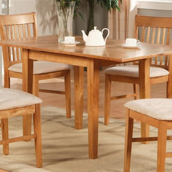 East West Furniture - Norfolk Rectangular Dining Table - Chairs not included. 12 in. self storage extension leaf. Made from Asian solid wood. Oak finish. Assembly required. Minimum: 42 in. L x 32 in. W x 29.5 in. H (54 lbs.). Maximum: 54 in. L x 32 in. W x 29.5 in. H (54 lbs.)