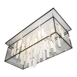 """Ridgely Studio Works - MOVIMENTO Chandelier - Rectangle, White/ Brushed Finish, 36""""l X 14""""w X 20""""h, Whi - The MOVIMENTO Chandelier is composed of hand cut art glass panels, delicately hung on barely visible braided stainless steel line. The illusion of floating glass give the fixture a whimsical feel. The light source can be mounted in the canopy of the fixture or integrated into the hanging glass. This contemporary chandelier works well in residential, hospitality and commercial settings."""