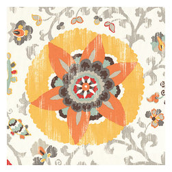Orange Suzani Indoor Outdoor Fabric - Eclectic orange, yellow & gray outdoor print where suzani meets sunshine.Recover your chair. Upholster a wall. Create a framed piece of art. Sew your own home accent. Whatever your decorating project, Loom's gorgeous, designer fabrics by the yard are up to the challenge!