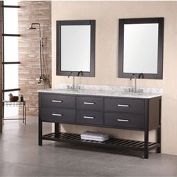 "Design Element - Design Element London 72"" Double Bathroom Vanity with Open Bottom - Espresso - The London 72"" Double Sink Vanity Cabinet, constructed with solid wood, provides a contemporary design perfect for any bathroom remodel. The ample storage in this free-standing vanity includes two flip-down shelves and four fully functional drawers each accented with brushed nickel hardware as well as an open shelf at the base of the cabinet. This vanity cabinet is available in an espresso or white finish. You have the option to add a White Carrera Marble Countertop with white porcelain sinks, pop-up drains and matching mirrors to make your own complete bathroom vanity set.  Features Solid wood cabinet Four large drawers, two center drawers, satin nickel finish hardware. Available as a Vanity Set including: White Carrera Marble Countertop, White Porcelain Sink, Pop up Drain, Matching Mirror Faucet(s) not included Manufacturer provides 1 year warranty How to handle your counterManualView Spec Sheet"