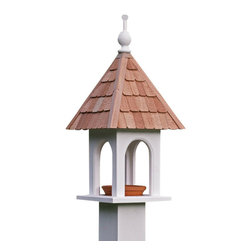 G.D. - Lazy Hill Farm Designs Loretta Bird Feeder - We love this feeder's classic look with natural redwood shingles.