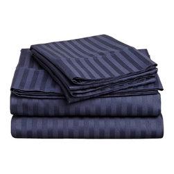 300 Thread Count Egyptian Cotton Queen Navy Blue Stripe Sheet Set - 300 Thread Count Egyptian Cotton Queen Navy Blue Stripe Sheet Set