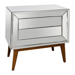 Kathy Kuo Home - Vivianne Hollywood Regency Mirror Wood Nightstand Chest - There's some secret storage hidden in this luxurious, luminous nightstand. An ultra-modern, mirrored chest sits on a mid-century, natural wood frame and handsomely houses two sleek drawers that open with the tap of your fingertips.