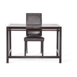 Astoria Dark Brown Modern Desk and Chair Set - This simple desk fits into any interior design scheme.  Made of very dark espresso brown solid rubberwood, this modern writing desk is sold as a set with a matching dark brown wood and faux leather chair, which is padded with foam for your comfort.  The desk features a single long drawer with lipped front edge, making it ideal for a computer keyboard.  The Astoria Desk requires assembly and is made in Malaysia.  To clean, dust with a dry cloth.  Desk Dimension: 43.187 inches wide x 19.75 inches d p x 29.125 inches Height , Chair dimension:17.25Wx15.5Dx38H, seat height : 18 inches , sliding shelf ofeethe desk dimension: 39.625 Wx12.5 Dx1.75 H