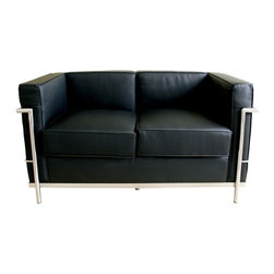 Wholesale Interiors - Black Le Corbusier Petite Loveseat - Le Corbusier-style Petite Leather Loveseat with a sturdy stainless steel frame fully welded, sealed and sanded, sleek black leather with leather match upholstery, unique block design with elegant piped edging, comfortable high density foam fill.