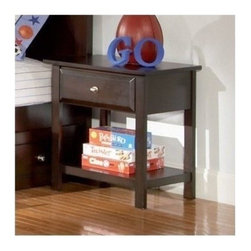 "Coaster - Night Stand (Cappuccino) By Coaster - Casual style. One open lower shelf. One top drawer. Full extension drawer glides for maximum storage capacity. Smooth, flat case surfaces for storing or displaying. Simple bracket feet anchor cases. Nickel look knob. Rich cappuccino finish. 23 "" W x 17 "" D x 25 "" H.  A low gloss cappuccino finish wraps this bedside table for a casual yet contemporary look that pairs beautifully with existing bedroom decor. Top with a lamp to add personality and playfulness that complements your child's bedroom theme."
