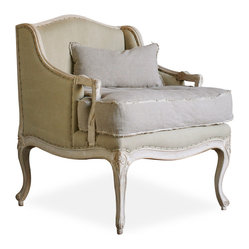 Eloquence - Regency Bergere French Country Arm Chair in Sage Cotton - Gentile and luxurious, yet with the modern level of comfort necessary for any teatime or sitting room chat, this armchair will add airs of elegance while fitting right in to any room. Get lost in the luxe fabrics or sit up straight to feel regal in this French country-inspired chair.