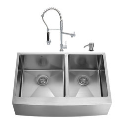 """VIGO Industries - VIGO All in One 36-inch Farmhouse Stainless Steel Double Bowl Kitchen Sink and C - Add elegance and style to your kitchen with a VIGO All in One Kitchen Set featuring a 36"""" Farmhouse - Apron Front sink, faucet, soap dispenser, two matching bottom grids and two strainers."""