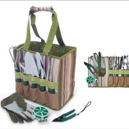Picnic & Beyond Garden Tools Carry Bag With Accessories - I'll admit it, my gardening tools and accessories are never easy to find. Nothing gets put back in the same place. A tool bag like this would alleviate the frustration of having to find my gloves, spade and clippers.