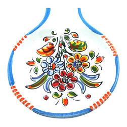 "Spanish Majolica Spoon Rest, Blue, 10.5"" Long - Spanish Majolica Spoon Rest - 10.5"" Long"