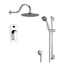 Remer - Sleek Polished Chrome Rain Shower Faucet Set - Multi function shower faucet.