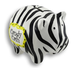 Zebra Striped Candy Cash Piggy Bank Coin Bank - And this little piggy went to the candy store! With bold zebra stripes and a fanciful 'Candy Cash' painted label , it'll be fun and easy to save with this little piggy! Perfect for the bedroom, dorm room or office! It measures 5 inches tall, 6.5 inches long, and 4.5 inches deep, and has a silicone plug on the bottom for easy access! It makes a savvy gift, too!