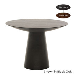 Nuevo Living - Dania Dining Table, Tan Walnut/Small - Horizontal ribbing around the base gives this midcentury-style pedestal table a subtle exotic twist. In that dark wood stain, it will look great with global influences and help tie together your eclectic modern decor. The round pedestal style is highly versatile, and the table is available in three sizes, so you can use it as a side table, little pub table or dining table.