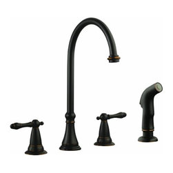 DHI-Corp - Montello Kitchen Faucet with Sprayer Head, Oil Rubbed Bronze - The Design House 524819 Montello Kitchen Faucet with Sprayer Head features a dual handle design and an external side sprayer. Use the bronze finished side sprayer to eliminate baked on residue and rinse dishes and silverware clean of grime and food. With a stately bronze finish, this faucet is refined and elegant and has a ceramic cartridge and brass waterways. This faucet has a rustic shabby chic design, meshing modern construction with vintage aesthetics. The flow rate is 1.8-gallons per minute and is ADA and AB-1953 compliant. This product is perfect for remodeling your kitchen and matches painted cabinets and granite counter tops. Providing your home with clean drinkable water, this item guarantees a steady flow after years of everyday use. Wash dishes or fill pitchers with ease underneath this high vaulted faucet. With a quick connect system and bronze handles, The Design House 524819 Montello Kitchen Faucet with Sprayer Head comes with a limited lifetime warranty that protects against defects in materials and workmanship. Design House offers products in multiple home decor categories including lighting, ceiling fans, hardware and plumbing products. With years of hands-on experience, Design House understands every aspect of the home decor industry, and devotes itself to providing quality products across the home decor spectrum. Providing value to their customers, Design House uses industry leading merchandising solutions and innovative programs. Design House is committed to providing high quality products for your home improvement projects.