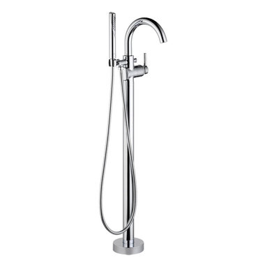 """Delta - Delta T4759-FL Chrome Floor Mount Tub Filler - The Delta T4759-FL Chrome Floor Mount Tub Filler is designed to emphasize the sleek elegance and sophistication of a modern European style faucet while maintaining superior functionality and durability. This Floor mount tub filler is constructed of solid brass and features a convenient Swing Spout as well as Delta's matchless TouchClean technology and a MultiChoice Pressure Balance Cartridge.  The included 2.0 gpm hand shower features 60""""-80"""" stretchable hose for added convenience with Metal Fittings for added durability.  It measures 9.75"""" Wide (At the top) and 41"""" Tall. Requires Delta Rough-in valve #R4700-FL"""