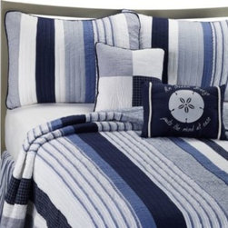 C & F Enterprises, Inc. - Nantucket Dreams Quilt - You'll feel like your floating on a cloud with the Nantucket Dreams quilt in white stripes and lush blue patterns that bring to mind the serenity of the sky. 100% cotton.
