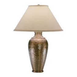 Robert Abbey - Robert Abbey Foundry Vertically Gifted Pot Table Lamp 9939COP - Copper Finish over Cast Metal