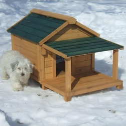 "Premium Pet - Insulated Cedar Dog House - Features: -Dog house. -Natural finish. -Available in 4 sizes: small for pet 25 lbs; medium for pet 55 lbs; large for pet 80 lbs; and extra large for pet 120 lbs. -Solid tongue and groove cedar wood . -All necessary hardware including screw covers are included. -Solid tongue and groove cedar wood is naturally rot and insect resistant. -Each wall panel is pre-assembled with all weather galvanized screws for added strength. -Optional available porch and deck for added comfort and protection from the elements. -Assembly time is less than 25 minutes. Specifications: -Small: 26"" H x 26"" W x 24"" D. -Medium: 34"" H x 35"" W x 28"" D. -Large: 39"" H x 37"" W x 32"" D. -Extra Large: 46"" H x 47"" W x 39"" D."