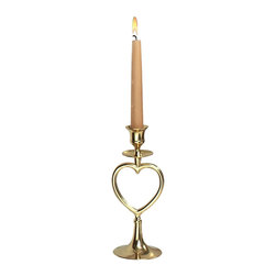 Renovators Supply - Candlesticks Bright Brass Heart Candlestick Holder 8'' H - With a felted bottom to protect furniture, this solid brass candle holder takes a 3/4 inch diameter candle.  It is 8 in. high x 3 3/8 in. wide.