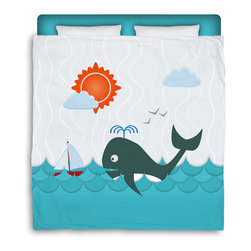 "Eco Friendly Made In USA ""Whale Watching"" Full/Queen Kids Comforter - Full/Queen Size Kids Beach Comforter From Our Surfer Bedding Seaside Bed and Bath Collection."
