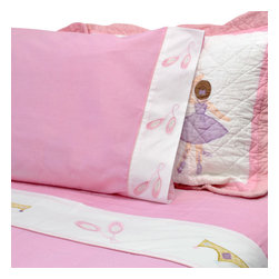 Pem America - Ballet Lessons Queen Sheet Set - Pretty dancing ballerinas for your little dance princess.  Ballet Lessons is the perfect bedding for your little girl with applique ballerinas with applique ballerinas highlights.  This girls sheet set is a classic and timeless pattern.  Includes: 1 flat sheet to fit a queen size bed and 2 pillow cases. 200 thread count 100% cotton sheeting material with embroidered hem treatments. Machine washable.
