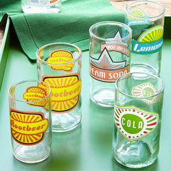 "Horchow - ""Fun in the Sun"" Glassware - Upcycling is the process of converting waste materials or useless products into new materials or products of better quality or for better environmental value. The final outcome—fun, retro glasses that mix a little nostalgia with your beverage service. Made of upcycled glass. Dishwasher and m"