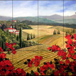 The Tile Mural Store (USA) - Tile Mural - Wild Roses - Kitchen Backsplash Ideas - This beautiful artwork by Malenda Trick has been digitally reproduced for tiles and depicts a red roses with a tuscan flare.  Our kitchen tile murals are perfect to use as part of your kitchen backsplash tile project. Add interest to your kitchen backsplash wall with a decorative tile mural. If you are remodeling your kitchen or building a new home, install a tile mural above your stove top or install a tile mural above your sink. Adding a decorative tile mural to your backsplash is a wonderful idea and will liven up the space behind your cooktop or sink.