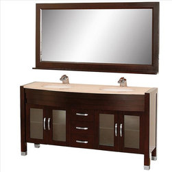 """Wyndham Collection - Wyndham Daytona Vanity with Undermount Sinks - The Daytona 63"""" Double Bathroom Vanity Set - a modern classic with elegant, contemporary lines. This beautiful centerpiece, made in solid, eco-friendly zero emissions wood, comes complete with mirror and choice of counter for any decor. From fully extending drawer glides and soft-close doors to the 3/4"""" glass or marble counter, quality comes first, like all Wyndham Collection products. Doors are made with fully framed glass inserts, and back paneling is standard. Available in gorgeous contemporary Cherry or rich, warm Espresso (a true Espresso that's not almost black to cover inferior wood imperfections). Transform your bathroom into a talking point with this Wyndham Collection original design, only available in limited numbers. All counters are pre-drilled for single-hole faucets, but stone counters may have additional holes drilled on-site."""