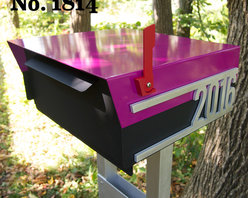 Custom House Number Mailbox No. 1814 Post Mount in Powder Coated Aluminum - Custom House Number Mailbox No. 1814 Post Mount in Powder Coated Aluminum