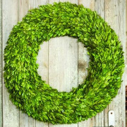 Preserved Boxwood Wreaths - I love boxwood. This wreath is fresh and classic.