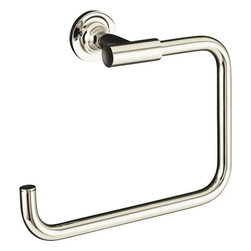 "Kohler - Kohler K-14441-SN Polished Nickel Purist Modern Open Square Towel Ring - Purist(R) towel ring Purist faucets and accessories combine simple, architectural forms with sensual design lines and careful detailing. Both sculptural and functional, this towel ring promises an inviting visual appeal of classic modernity, and features solid brass construction. Tools are included to simplify installation.  8-7/8""W x 2-13/16""D x 6""H"